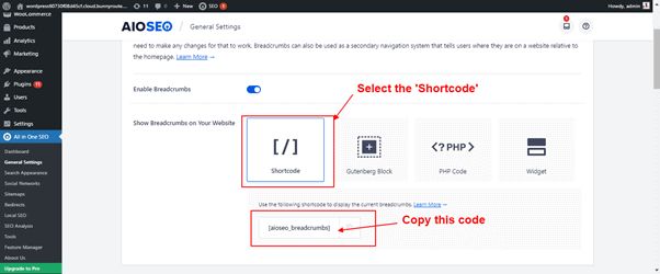 apply breadcrumb navigation shortcode in aioseo plugin