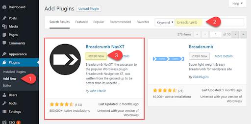 breadcrumb navigation in wordpress website with navxt plugin