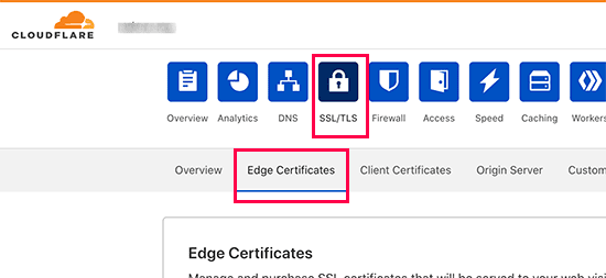 cloudflare edge certificates tab