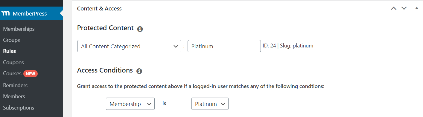 content protection rules in memberpress