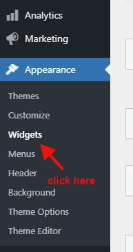 widget option in wordpress sidebar