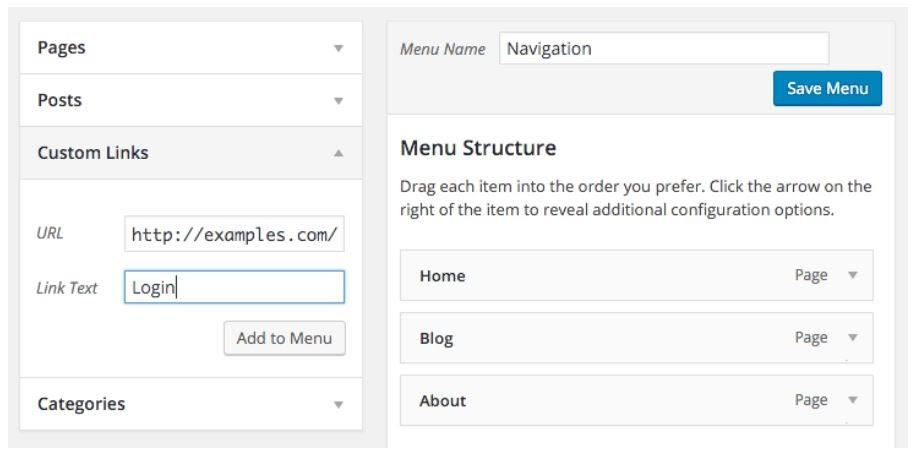 add link to wordpress menu
