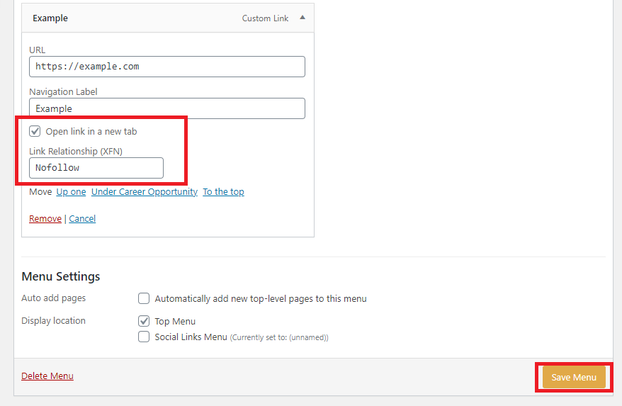 example to add link