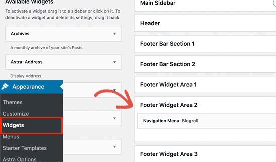footer widget wordpress