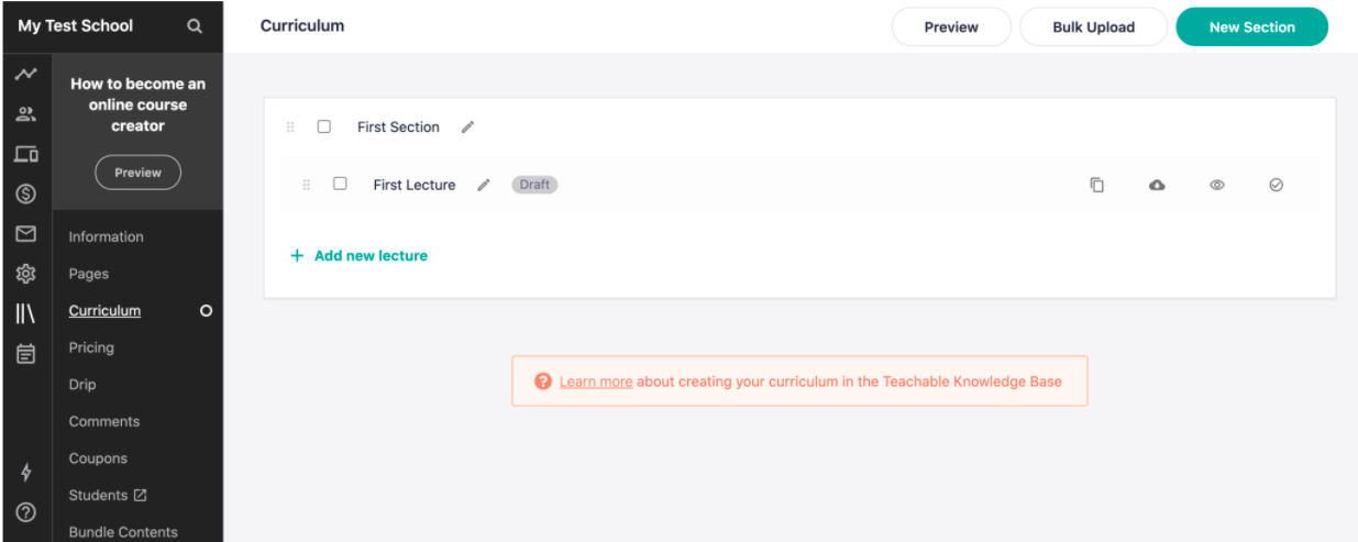 how to create courses with teachable lms platform