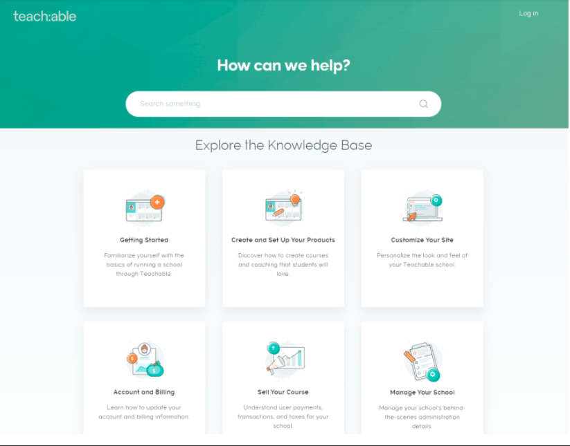 teachable knowledge base and customer support for lms platform services
