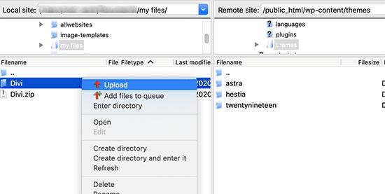 upload a wordpress theme via ftp client server