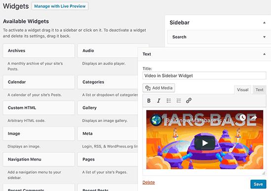 How to Embed Videos in WordPress Sidebar Widgets