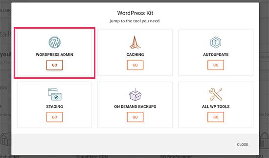 wordpress admin in siteground