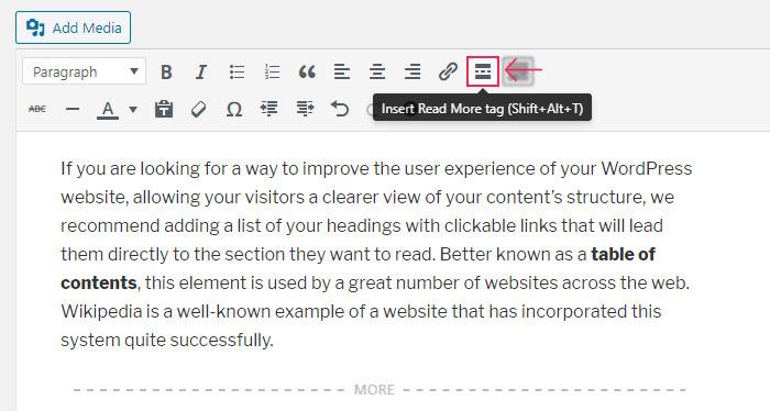 read more display tag in wordpress