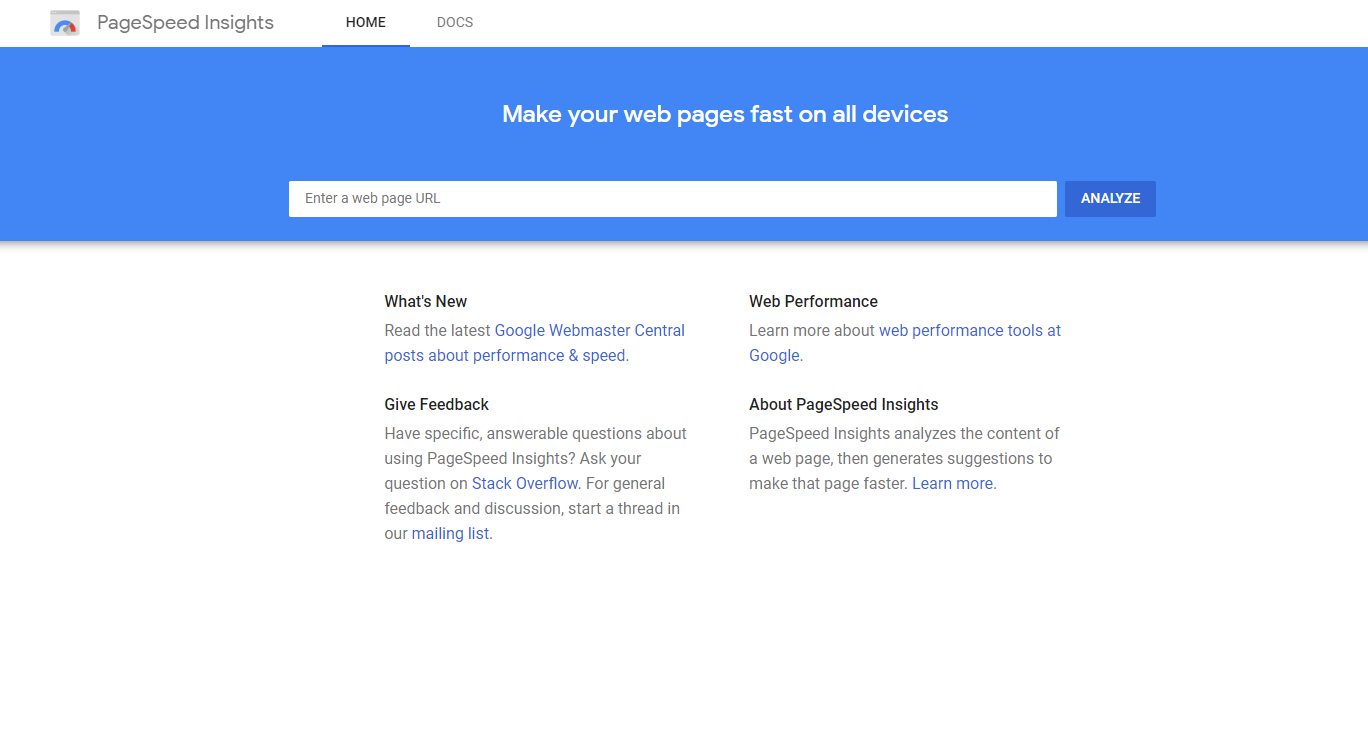 google page speed insight to test website speed