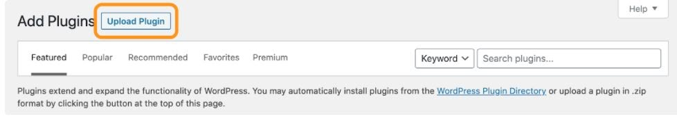 uploading a plugin zip file to wordpress