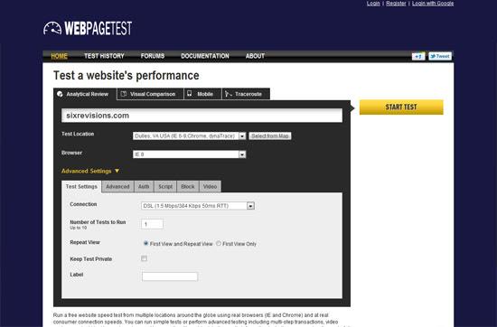 webpagetest tool